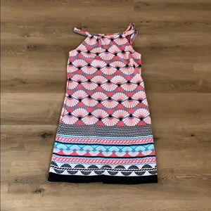 Crown & Ivy Pink/Navy Patterned Sheath Dress